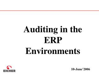Auditing in the ERP Environments