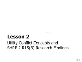 Utility Conflict Concepts and SHRP 2 R15(B) Research Findings