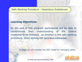 Safe Working Procedure - Hazardous Substances