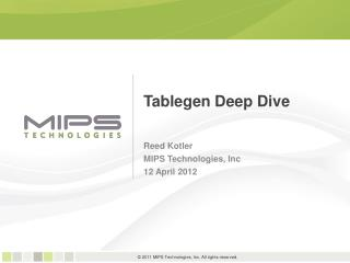 Tablegen Deep Dive