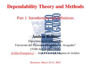 Dependability Theory and Methods Part 1: Introduction and definitions