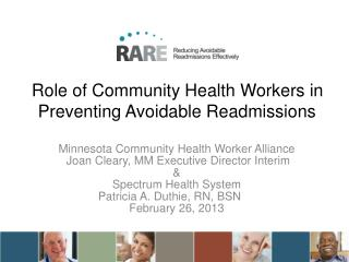 Role of Community Health Workers in Preventing Avoidable Readmissions