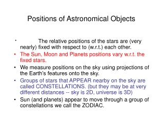 Positions of Astronomical Objects