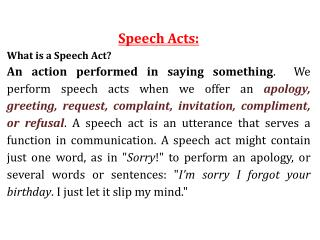 Speech Acts: What is a Speech Act?
