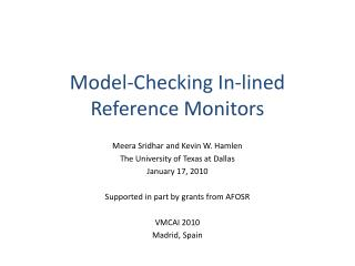 Model-Checking In-lined  Reference Monitors