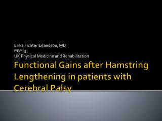 Functional Gains after Hamstring Lengthening in patients with Cerebral Palsy