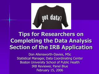 Tips for Researchers on Completing the Data Analysis Section of the IRB Application