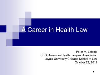 A Career in Health Law
