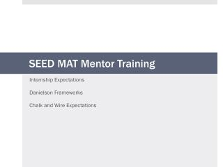SEED MAT Mentor Training