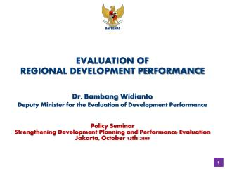 EVALUATION OF  REGIONAL DEVELOPMENT PERFORMANCE
