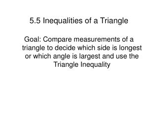 5.5 Inequalities of a Triangle