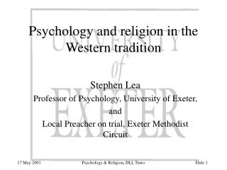 Psychology and religion in the Western tradition