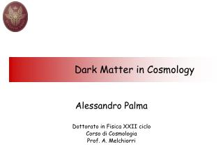 Dark Matter in Cosmology