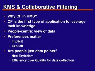 KMS & Collaborative Filtering