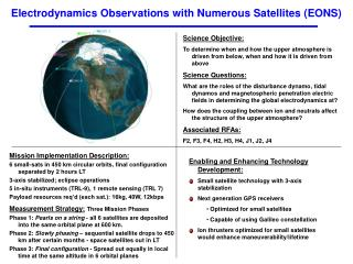 Electrodynamics Observations with Numerous Satellites (EONS)
