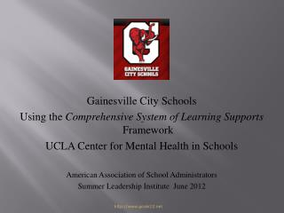 Gainesville City Schools Using the  Comprehensive System of Learning Supports  Framework