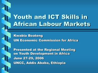 Youth and ICT Skills in African Labour Markets