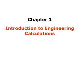 Introduction to Engineering Calculations