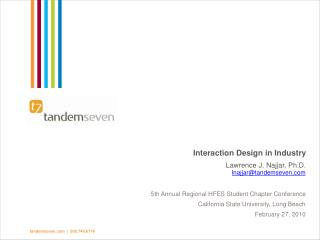 Interaction Design in Industry