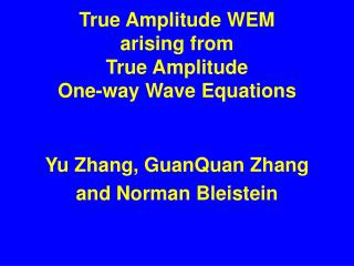 True Amplitude WEM arising from True Amplitude One-way Wave Equations