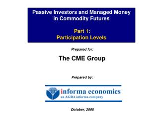 Passive Investors and Managed Money in Commodity Futures   Part 1: Participation Levels