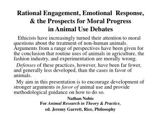 Harms & Moral Justification