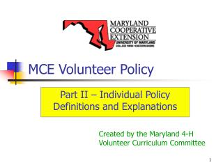 MCE Volunteer Policy