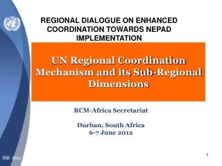 UN Regional Coordination Mechanism and its Sub-Regional Dimensions