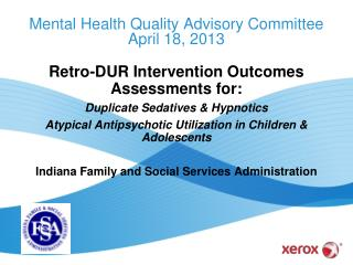 Mental Health Quality Advisory Committee April 18, 2013