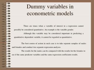 Dummy variables in econometric models