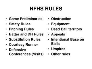 NFHS RULES