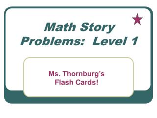 Math Story Problems:  Level 1