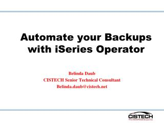 Automate your Backups with iSeries Operator