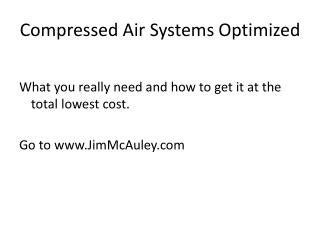 Compressed Air Systems Optimized