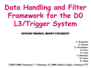 Data Handling and Filter Framework for the D0 L3/Trigger System