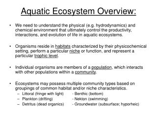 Aquatic Ecosystem Overview: