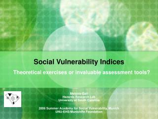 Social Vulnerability Indices