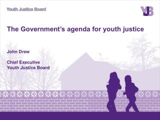 The Government's agenda for youth justice John Drew Chief Executive Youth Justice Board