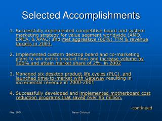 Selected Accomplishments