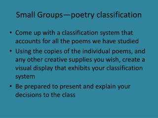 Small Groups—poetry classification