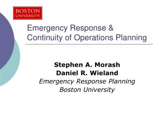 Emergency Response & Continuity of Operations Planning