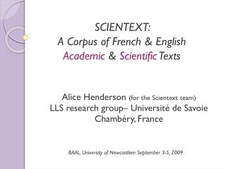 SCIENTEXT:  A Corpus of French & English  Academic  &  Scientific  Texts