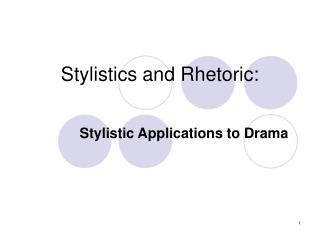 Stylistics and Rhetoric: