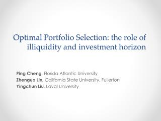 Optimal Portfolio Selection: the role of illiquidity and investment horizon