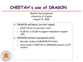 CHEETAH's use of DRAGON
