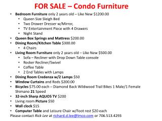 FOR SALE – Condo Furniture