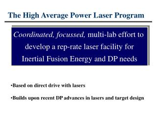 The High Average Power Laser Program