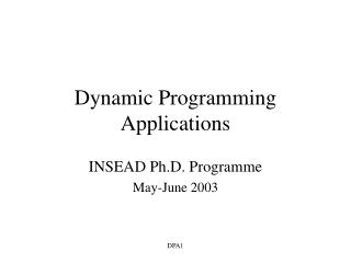 Dynamic Programming Applications