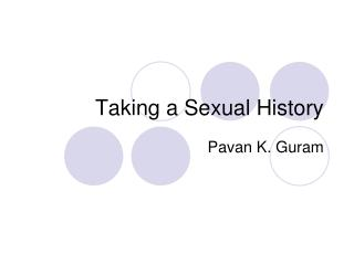 Taking a Sexual History