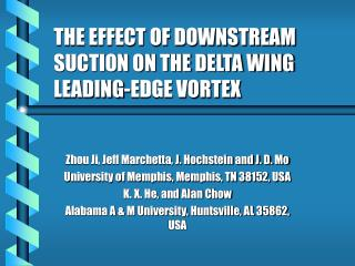 THE EFFECT OF DOWNSTREAM SUCTION ON THE DELTA WING LEADING-EDGE VORTEX